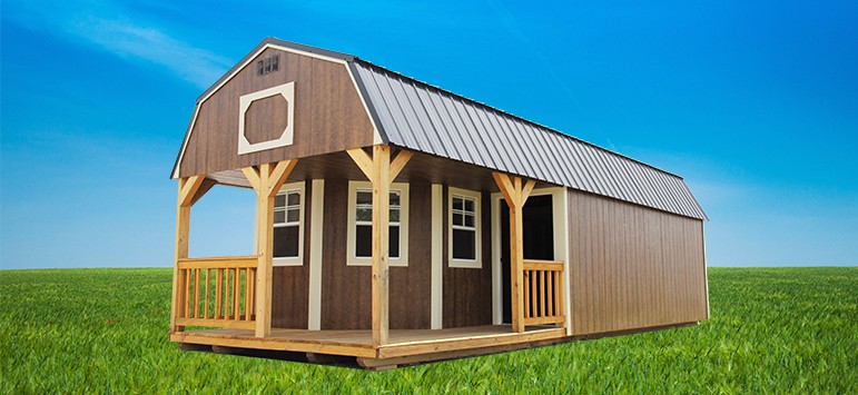 Lofted barn cabin shed for Pre built sheds